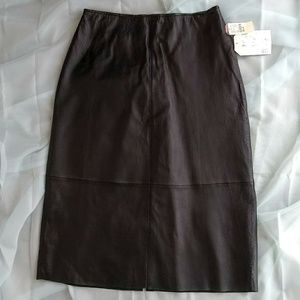 Clio 100% Leather Skirt Black Size Women's 8 NWT